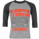 Official Band Merch Mens With Sirens Raglan T Shirt 3/4 Crew Neck Tee Top