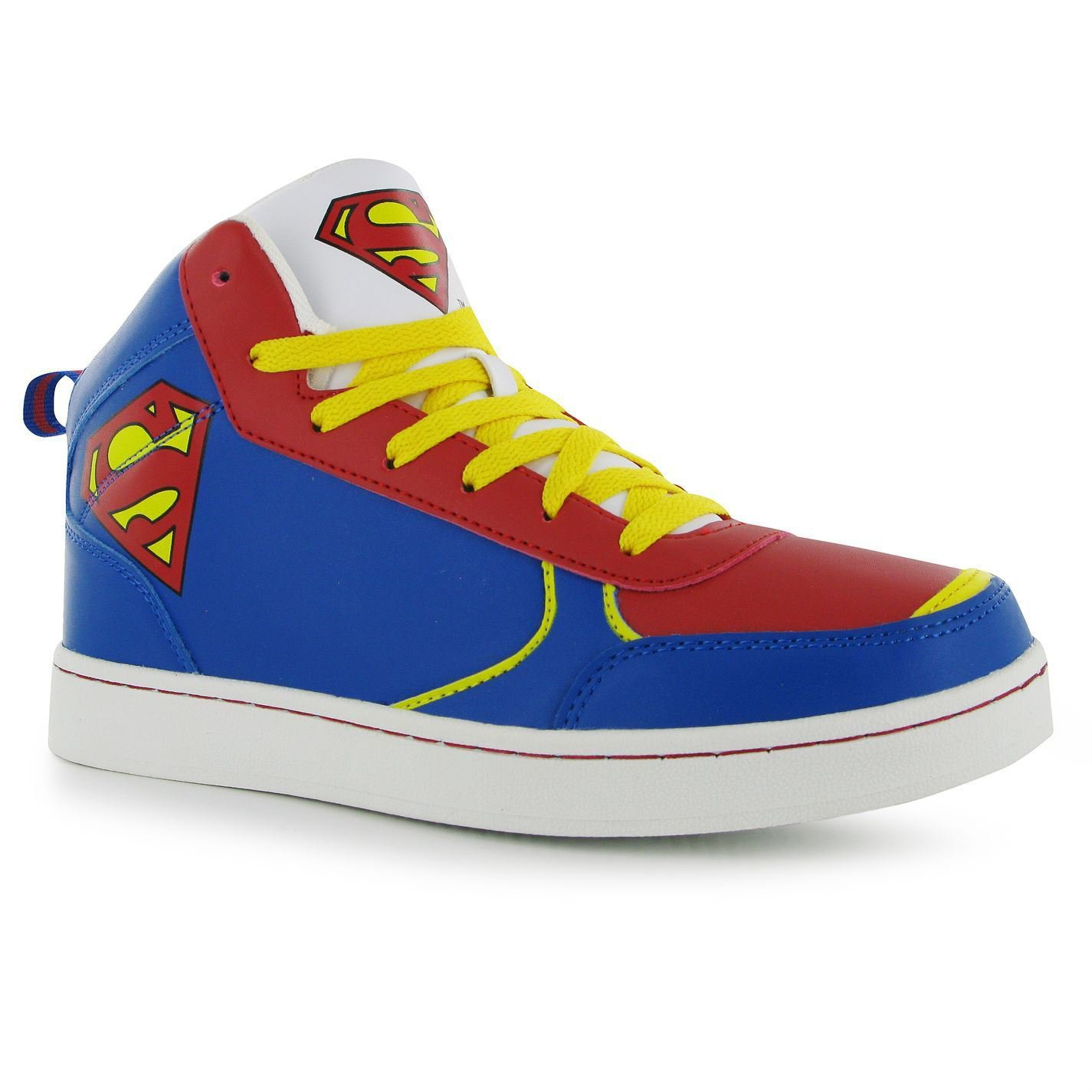 DC Comics Mens Superman Hi Top Trainers Superman Branding Lace Fastening