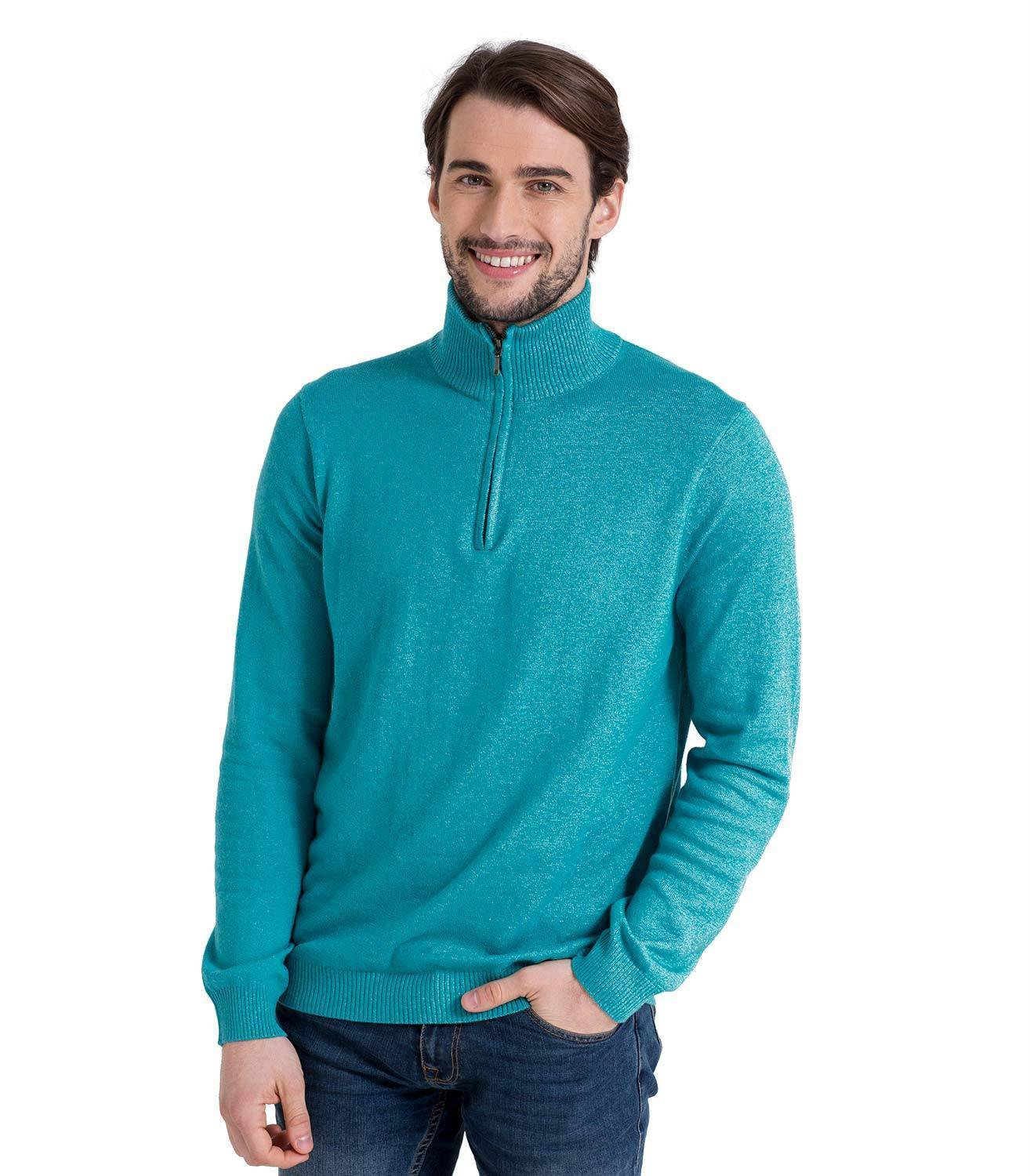 ccda2f9258df4d WoolOvers Mens Cashmere and Cotton Zip Neck Jumper Sweater Pullover Knitwear