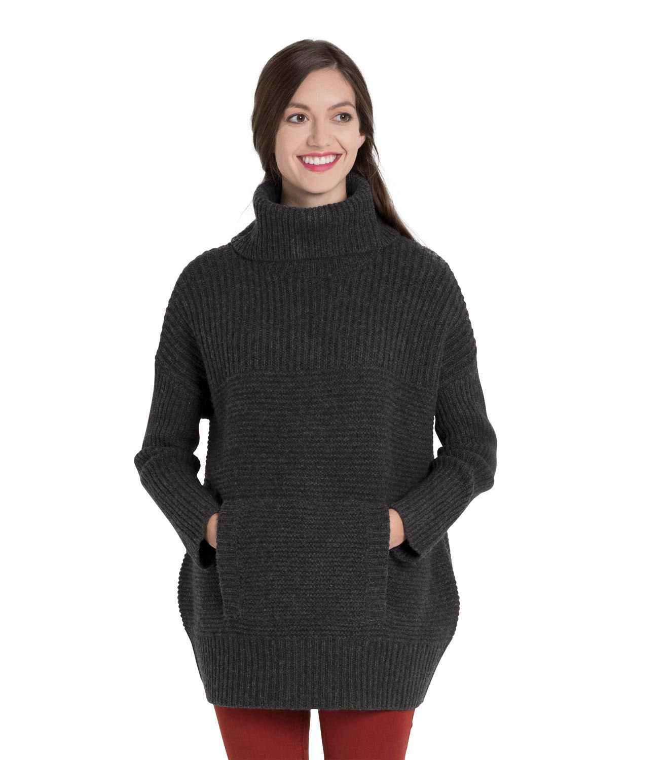 WoolOvers Womens Lambswool Chunky Roll Neck Textured Knitted Sleeves Top Jersey