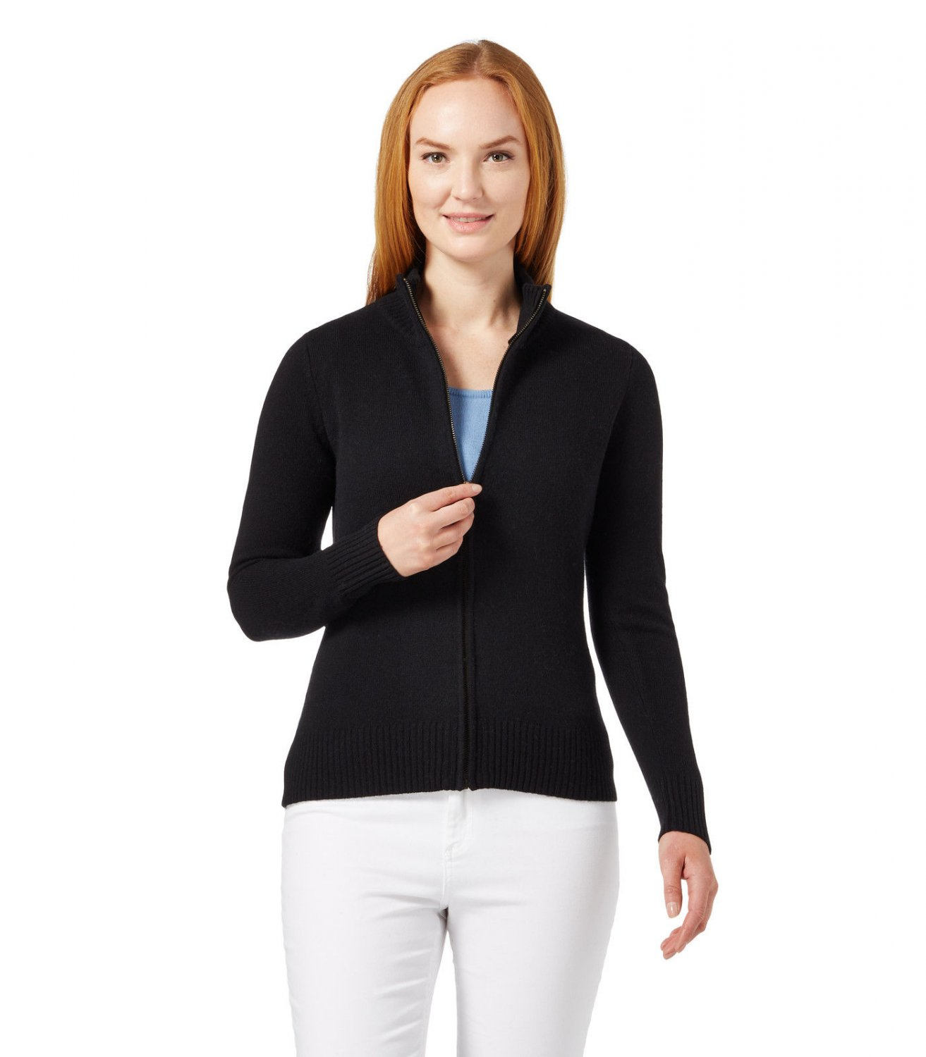 WoolOvers Womens Lambswool Fitted Zip Thru Pattern Button Neck Ladies Cardigan