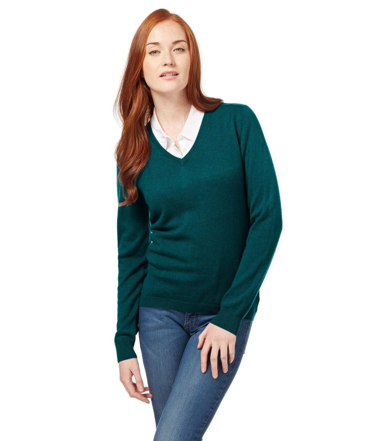 WoolOvers Ladies Cashmere and Merino V Neck Knitted Sweater Jumper Knitwear