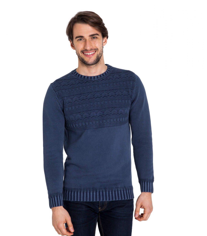 WoolOvers Mens 100% Cotton Stitch Detail Crew Neck Jumper Sweater Knitwear