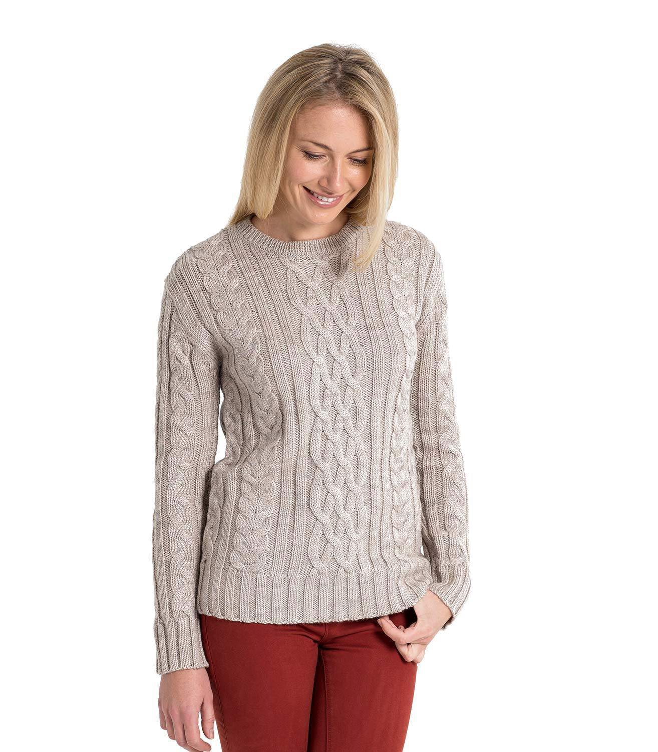 WoolOvers Womens Pure Wool Aran Sweater Jumper Pullover Knitted Knitwear