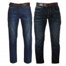 Firetrap Mens Leather Belt Straight Jeans Pants Trousers Bottoms Denims