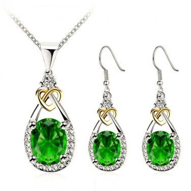 Luxury 14k Platinum green zircon Pendant Necklace Earrring Set
