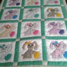 HANDMADE BABY QUILT - EASTER BUNNY - APPLIQUED
