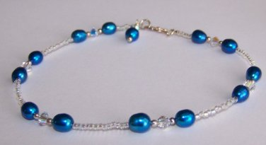 Blue Pearl Anklet handmade by Sapphire Rain Designs