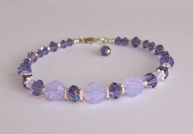 Tanzanite Crystal Bracelet handmade beaded bracelet by Sapphire Rain Designs