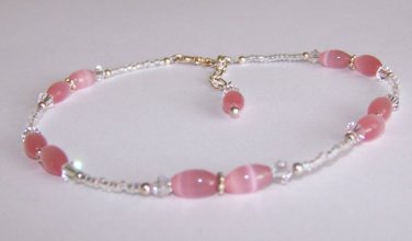 Romantic Pink Anklet handmade beaded anklet by Sapphire Rain Designs