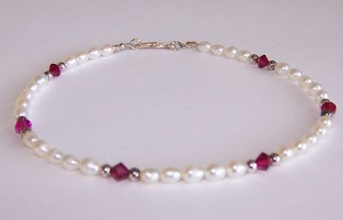 Fushia and Pearls Anklet handmade beaded anklet by Sapphire Rain Designs