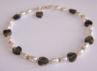 Abalone Hearts Anklet handmade beaded anklet by Sapphire Rain Designs
