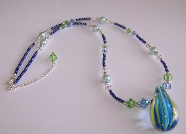 Ocean Medley Necklace handmade beaded necklace by Sapphire Rain Designs