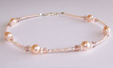 Romantic Peach Anklet handmade beaded anklet by Sapphire Rain Designs