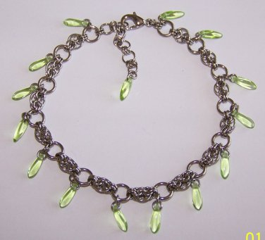 Peridot Dangle Chainmaille Anklet handmade by Sapphire Rain Designs