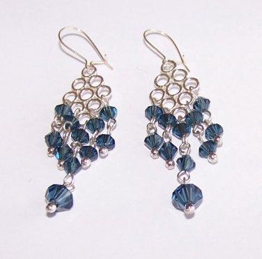 Montana Blue Dangle Earrings handmade beaded earrings by Sapphire Rain Designs