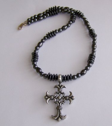 Men's Cross Pendant Necklace handmade beaded necklace by Sapphire Rain Designs