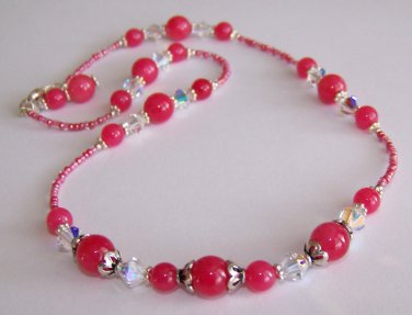 Cherry Blossoms Necklace handmade beaded necklace by Sapphire Rain Designs