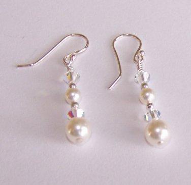 Crystal Pearls Earrings handmade beaded earrings by Sapphire Rain Designs