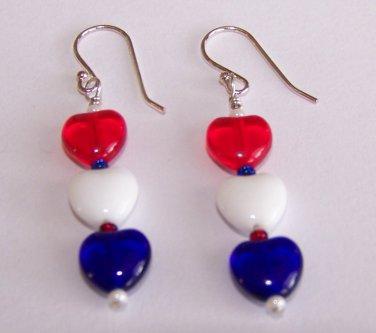 Patriotic Hearts Earrings handmade beaded earrings by Sapphire Rain Designs