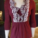 Anthropologie DELETTA V Neck Ruffled 3/4 Sleeve Jersey Knit Top Shirt Blouse XS