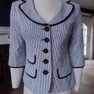 Nanette Lepore Black/White Striped 3/4 Sleeve Jacket  Blazer 6