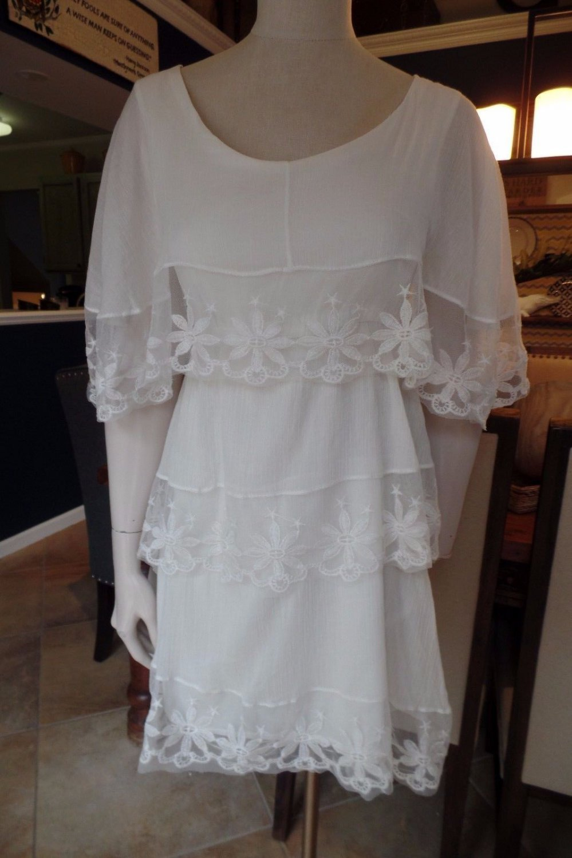 NWOT H&M White Cotton Lace Trim Layered Mini Dress US 4