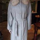 Vintage Brown Blue 100% Leather Fur Collar 3/4 Length 3/4 sleeve Jacket Coat S/M
