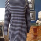MARC BY MARC JACOBS Black/Gray Striped Long Sleeve Jersey Shift Dress XS