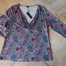 NWT TALBOTS Paisley Print 3/4 Sleeve V Neck Top Shirt Blouse M