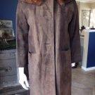 Vintage Brown Suede Mink Collar 3/4 Length 3/4 sleeve Jacket Coat XS/S