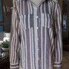 ANN TAYLOR LOFT Striped Cotton Button Front Long Sleeve Top Shirt Blouse S
