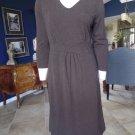 LAND'S END Brown 3/4 Sleeve Stretch Jersey Sheath Dress M