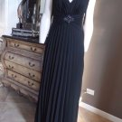 NWT DAVID MEISTER Black Pleated Skirt Long Evening Gown Dress 10