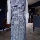 TALBOTS Black/White Printed Cotton Blend Sleeveless Sheath Dress 6