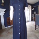 Brooks Brothers Navy 100% Linen Button Front Midi Length Shirt Dress 4