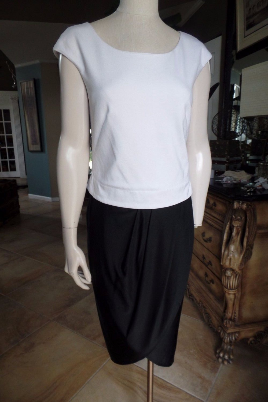 RACHEL ROY Black/White color Blocked Faux Wrap Skirt Sheath Dress L