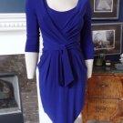 RALPH LAUREN Blue 3/4 Sleeve Ruched Stretch Faux Wrap Sheath Dress 4