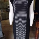 CHICO'S Travelers Black/White Striped Stretch Midi Shift Dress 1