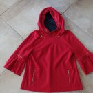 MAGASCHONI Red Hooded Ponte Zipper Detail Top Shirt 12