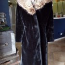 Vintage BORGAZIA Brody Black Faux Fur Real Fox Fur Collar Long Jacket Coat M/L
