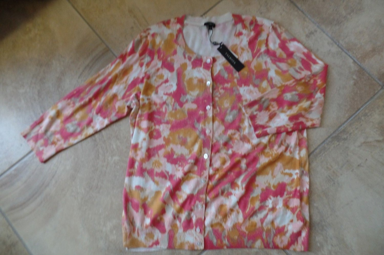 NWT TALBOTS Printed Cotton Blend 3/4 Sleeve Button Front  Cardigan Sweater 1X