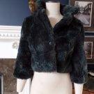 ZARA Blue/Gray Cropped 3/4 Sleeve Faux Fur Jacket Blazer S