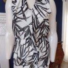 NWT ANN TAYLOR Black/White Leaf Print Chiffon Sleeveless Top Shirt Blouse 4
