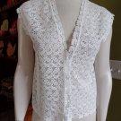 CLUB MONACO White Short Sleeve Semi Sheer One Button Top Shirt Blouse S