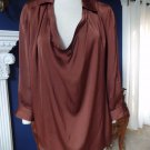 Vince Brown Draped Front 3/4 Sleeve Shirt Blouse Top 10