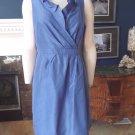 NWT J CREW Blue 100% Silk Taffeta Ruffled Cocktail Sheath Dress 14