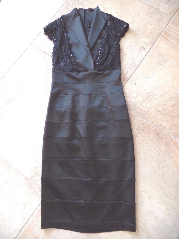 TADASHI SHOJI Black Beaded Cap Sleeve Fitted Cocktail Evening Sheath Dress 2