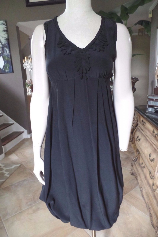 MAX MARA Black 100% Silk Bubble Sheath Dress US 6