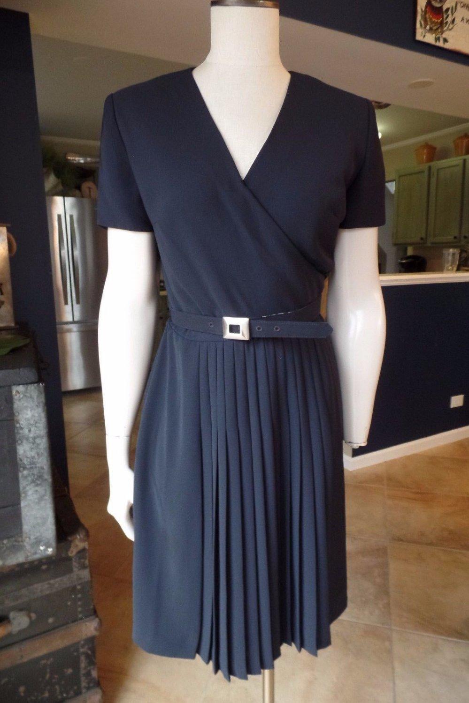 KAY UNGER Black Short Sleeve Belted Faux Wrap Sheath Dress 8
